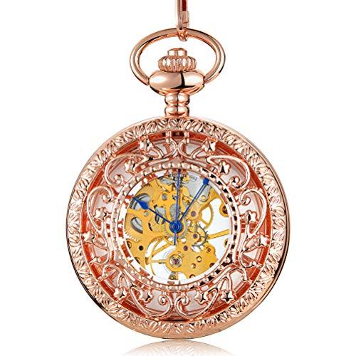Gorben Taschenuhr, Rotgold, mechanisch, Handaufzug, mit Kette, für römische Ziffern, Skala
