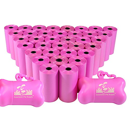Downtown Pet Supply Dog Pet Waste Poop Bags with 2 Leash Clips and Dispensers (1000 Bags, Pink)
