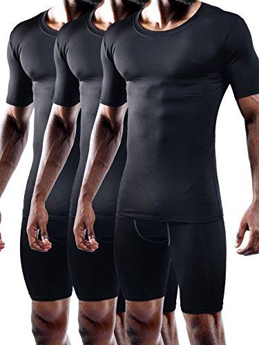 Neleus Men's 3 Pack Athletic Compression Under Base Layer T Shirt,5011,Black,2XL,EUR 3XL