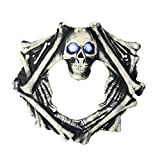 Northlight Pre-Lit Ivory and Black Skull Head Artificial Halloween Wreath - 18.5-Inch, Blue Lights