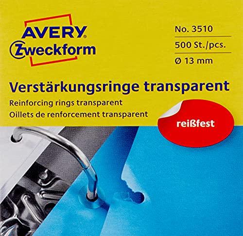 AVERY Zweckform 3510 Lochverstärker selbstklebend 500 Stück (Ø13mm, Lochverstärkungsringe auf Rolle, permanent haftende Ringverstärker, Ringlochverstärker fürs Abheften, reißfeste Folie) transparent