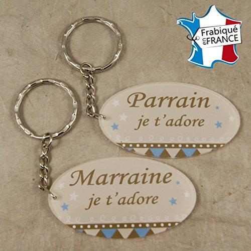 Lot 2 Portes Clefs - 1 Parrain + 1 Marraine (Cadeau Parrain Marraine Baptême Communion Noël, annonce et demande Parrain Marraine)