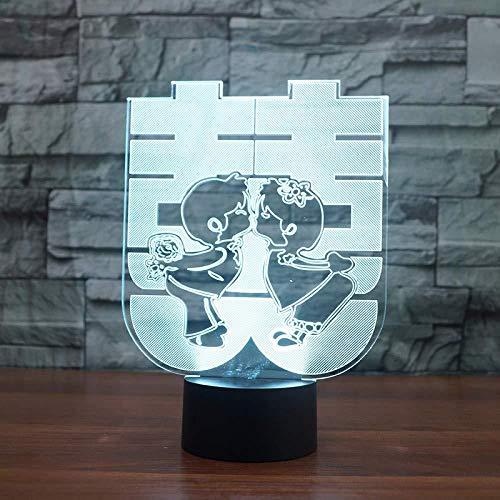Doble Felicidad 3D Lámpara De Mesa Estilo Chino Regalos De Boda 7 Color Led Nightlight Sleep Lighting Dormitorio Decoración De Cabecera