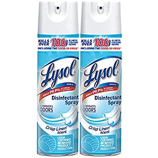 Lysol Disinfectant Spray, Sanitizing and Antibacterial Spray, For Disinfecting and Deodorizing, Crisp Linen, 2 Count, 19 fl oz each (B01DCG0GPC) | Amazon price tracker / tracking, Amazon price history charts, Amazon price watches, Amazon price drop alerts