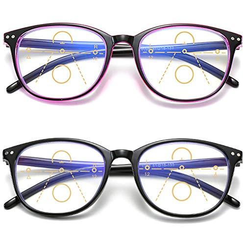 KOOSUFA Gleitsichtbrille Progressive Multifokus Lesebrille Damen Herren Anti-Blaulicht Sehhilfe Retro Lesehilfe Anti Müdigkeit Brille 1,0 1,5 2,0 2,5 3,0 3,5 4,0 (2 Farben Set, 2.0)
