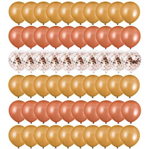 FORMIZON 60 stuks Ballonnen Rose Goud + Champagne Goud Confetti Ballonnen Pailletten Helium Ballonnen voor Bruiloft Meisjes Kinderen Verjaardagsfeestje Decoratie