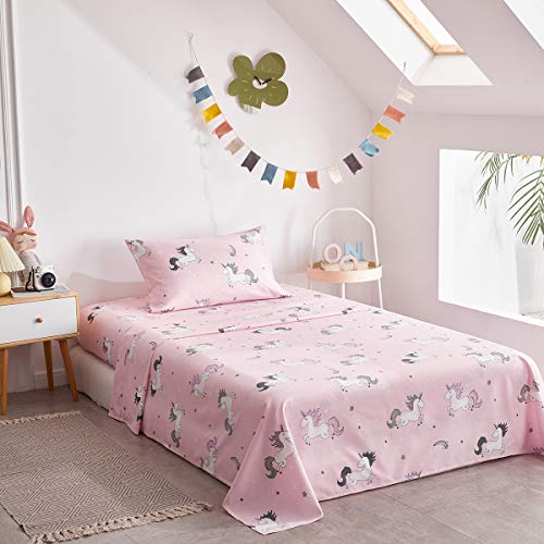 Twin Unicorn Sheet Set for Kids Girls Teens Cute 3 Pieces Microfiber Pink Bedding Set with Rainbow and Stars Princess Style