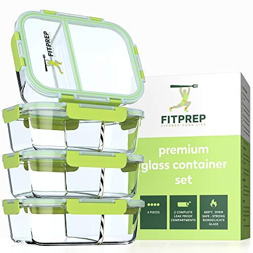 fitprep® Premium Cristal–Juego de fiambreras (Meal Prep Contenedor, 4* 1040ml, 2Densidad y completo depósitos independientes, cristal de 40hasta 520°C