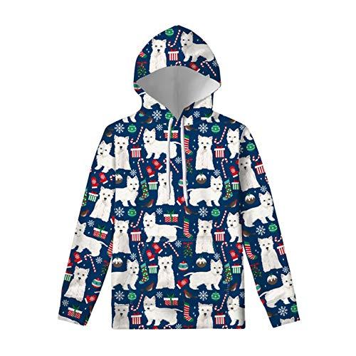 HUGS IDEA Sweat à capuche décontracté pour femme avec cordon de serrage, idéal pour les sports d'hiver, l'automne, le Père Noël, la nuit étoilée, la fleur de chien, Sucre d'orge pour chien, L