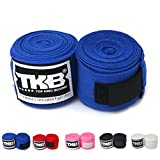 Top King Cotton Handwraps Hand Wraps Color Black Blue Red White Pink Thailand for Muay Thai, Boxing, Kickboxing, MMA (Blue)