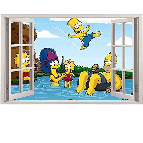 Simpsons Wand zerschlagen späht Kinder-Lieblings-Charaktere 70cm oder 100cm Wandtattoo, Vinyl, Motiv: Wandkunst, Customise4U™ (bart swim window)