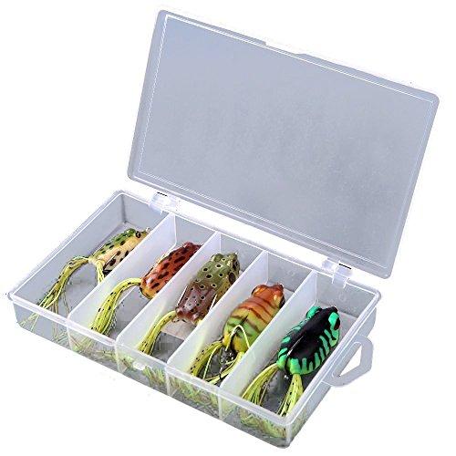 Plastic appats de peche - SODIAL (R)Frog Lure Basse hamecons Bait Tackle Topwater 5pcs Leurres Souples avec Box UK