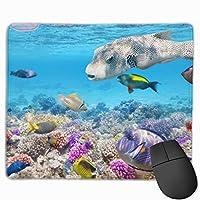 マウスパッド 熱帯魚 水中 サンゴ礁 海洋 高級感 おしゃれ 防水 耐久性が良い 滑り止めゴム底 ゲーミングなど適用 ( 30*25*0.5cm )マウスパッド
