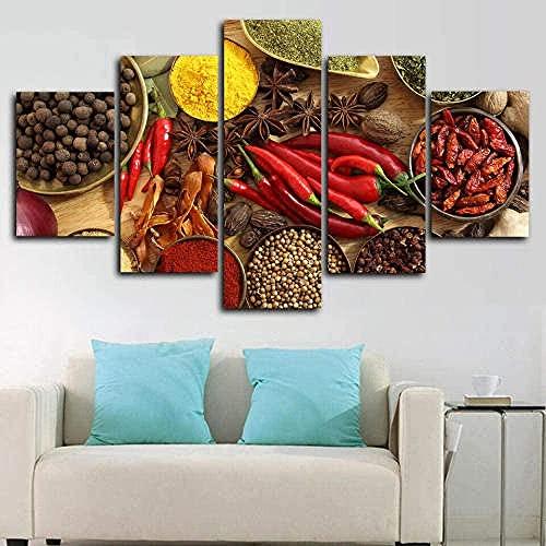 BHJIO 5 Piezas Cuadro sobre Lienzo Imagen Especias Pimienta Chile Albahaca Nuez Moscada Impresión Pinturas Murales Decor Fotos para Salon,Dormitorio,Baño,Comedor Regalo 80X150Cm