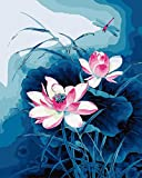 Bricolaje decoración del hogar de la lona digital de la pintura al óleo por el número de kits Libélula y Lotus 16 * 20 pulgadas.