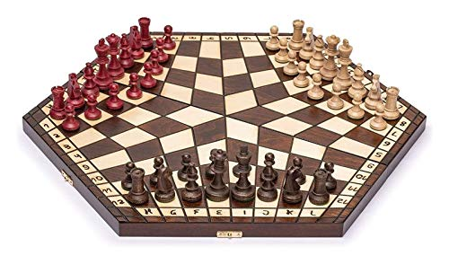 L.J.JZDY Schachbrett Hölzerner DREI-Spieler-Schach 18,5 Zoll