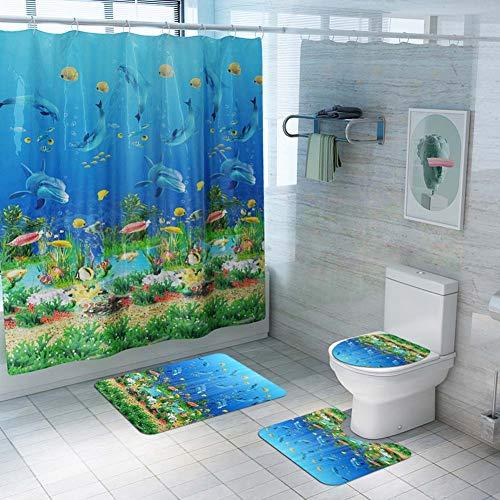 ETOPARS Unterwasserwelt Badezimmer Duschvorhang Teppich Set 4-teilige weiche und rutschfeste Badematte, U-förmiger Konturteppich, Toilettendeckelabdeckung 72 x 72 Zoll