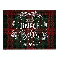 DENGZI ランチョンマット 綿とリネンのまとめの赤と緑のクリスマスのプラセマット、防水と掃除が簡単な、クリスマステーブルの装飾、ワンピース (Color : H, Size : 32x21cm waterproof)