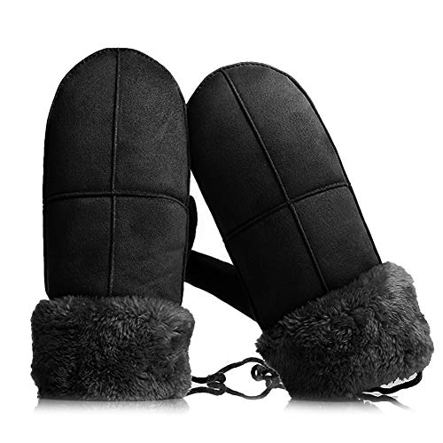Handschoenen Wanten Handschoenen Dames suède stof Anti-koude rug geborsteld Suede warme schattige fancy (Kleur: zwart)