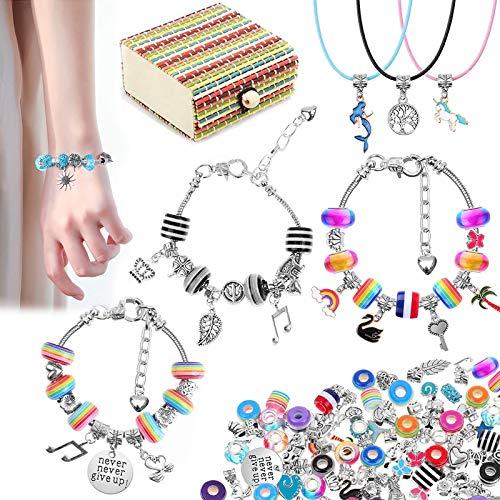VDSOW Kit di creazione di gioielli per bambini, 62 Kit di creazione di bracciali per ragazze Cordoncini per collana Pendenti con ciondoli Arcobaleno Placcato argento Perline Catene Forniture Età 8-12