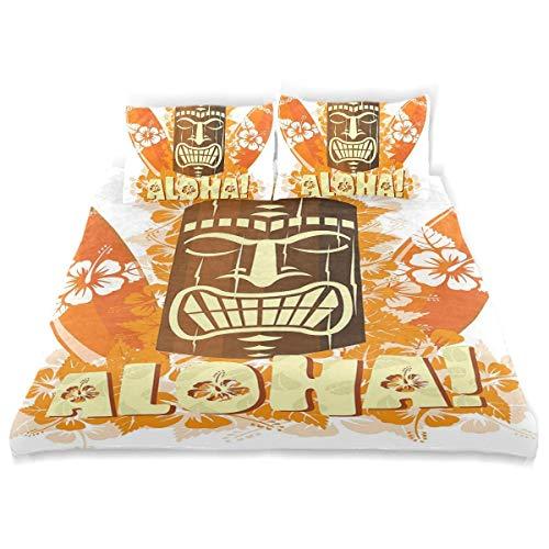 Juego de Funda nórdica Hibiscus Flora Burst Orange Tablas de Surf Aloha Tropical Summer Juego de Ropa de Cama Decorativo de 3 Piezas con 2 Fundas de Almohada
