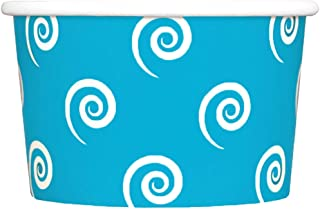 100 Count Blue Paper Ice Cream Cups - 4 oz Swirls And Twirls Dessert Bowls - Comes In Many Colors & Sizes! Frozen Dessert Supplies