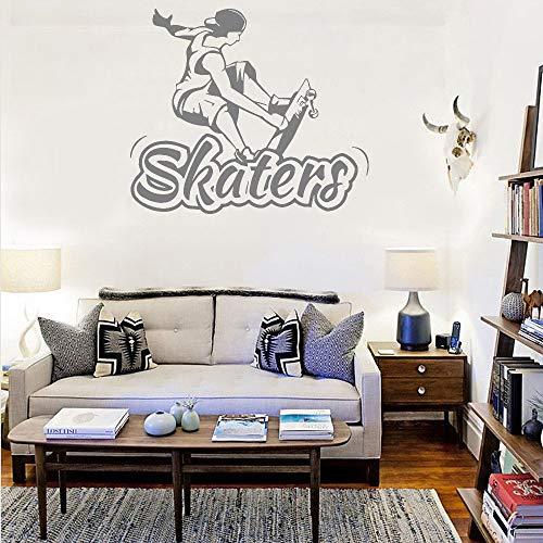 Geiqianjiumai Skater Zitat Wandaufkleber Text Skateboard Junge Aufkleber Wohnzimmer Sofa Hintergrund Wandtattoo Raumdekoration Wandbild grau S49cmx42cm