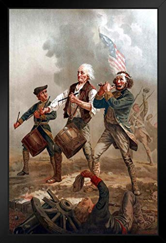 Spirit of 76 Yankee Doodle by Arcibald Willard 1876 Patriotic Posters American Flag Poster of Flags for Wall Flags Poster Us Cool Wall Art No Glare Wood Eco Framed 9x13