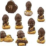 9pcs / Set Monje Budista Estatua Mini Figurita Ornamento Craft Decoración Bonsai Miniatura Casa De Muñecas De Torta De Estar Decoración De Habitación