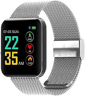 WJFQ Reloj Inteligente Pulsera Deporte SmartWatch Bluetooth IP67 a Prueba de Agua Aptitud Muñequera Tracker for Android iOS con monitores de presión de oxígeno en Sangre del Contador de Pasos