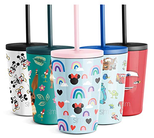 Kids Insulated Cup with Lid and Silicone Straw Disney Stainless Steel Flask Metal Thermos for Toddlers Boys and Girls, -Minnie: Rainbows, 12oz Tumbler