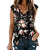 Women's Lace Tank Tops V Neck Loose Floral Print Sleeveless T-Shirt Summer Casual Tunic Gradient Elegant Blouse