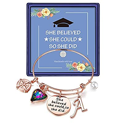 Inspirational Graduation Gifts for Her 2021, Engraved Inspirational Bangle Graduation Grad Cap Mantra Quote She Believed She Could So She Did Charm Bracelet Graduation Friendship Gifts(Rose Gold A)