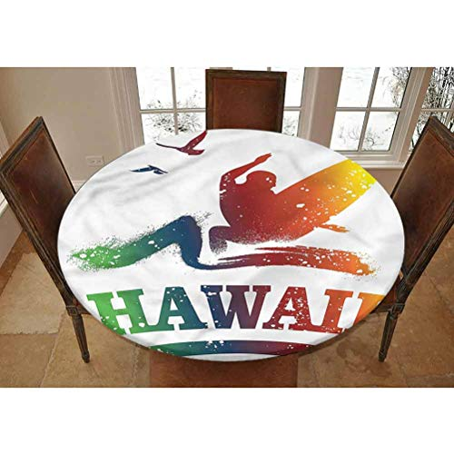 LCGGDB Surf Elastic Edged Polyester Fitted Tablecolth -Colorful Exotic Hawaiian Scene- Small Round Fitted Table Cover - Fits Tables up to 40-44' Diameter,The Ultimate Protection for Your Table