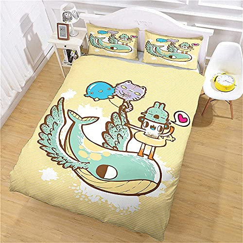 3D Bedding his and hers bedding whale Super Soft Easy Care Single(135x200 cm), 2 piece set 1 piece quilt cover + 1 piece matching pillowcase