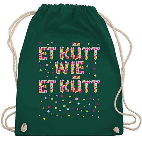 Shirtracer Karneval & Fasching - Et kütt wie et kütt - Konfetti - Unisize - Dunkelgrün - Köln - WM110 - Turnbeutel und Stoffbeutel aus Baumwolle