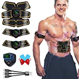 WARDBES Elettrostimolatore per Addominali, Elettrostimolatore Muscolare, EMS Stimolatore Muscolare, ABS Trainer/Toner per Addome/Braccio/Gambe/Vita Home Gym per Uomo Donna