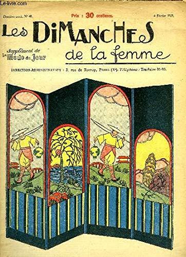 Les Dimanches de la femme N°48 - 2ème année : La Paravent Japonais - Napperons en broderies et dentelles - Elégante Salle à Mager-Salon - Les Hortensias, bordure au pochoir ...