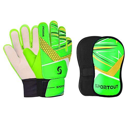 Sportout Guantes de portero para niños y jóvenes, con espinilleras, para entrenamiento de fútbol (verde, 7)