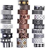 Set da 27rotoli di nastro washi, classici nastri washi decorativi neri e bianchi, design decorativo speciale per fai da te, artigianato, decorazione di libri, fantastico per feste e party