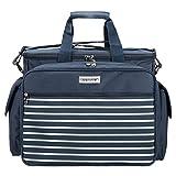 anndora Picknicktasche Kühltasche mit 32 Teile Zubehör für 4 Personen - Navy blau weiß...
