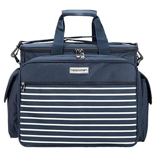 anndora Picknicktasche Kühltasche mit 32 Teile Zubehör für 4 Personen - Navy blau weiß gestreift