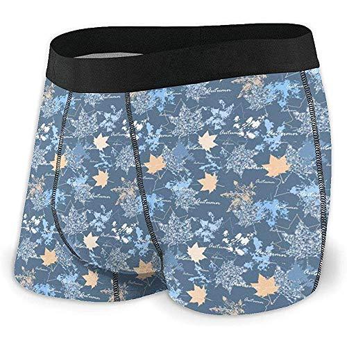 Ropa Interior Ultra Suave para Hombre Tronco Astilla y Calzoncillos Azules de Hojas de otoño