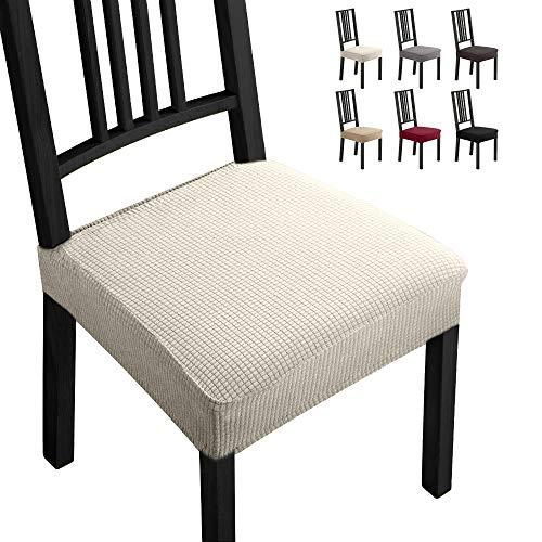 Fundas para sillas Pack de 4 Fundas sillas Comedor Fundas elásticas,Fundas de Asiento para Silla,Diseño Jacquard Cubiertas de la sillas,Extraíbles y Lavables-Decor Restaurante(Paquete de 4,Beige)-B