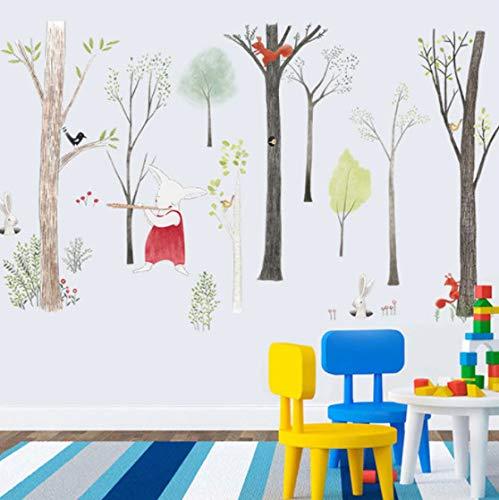 Pegatina de pared de bosque de música grande, decoración del hogar de dibujos animados, dormitorio de bricolaje, habitación de niños, fondo de guardería, calcomanías de arte mural, cartel adhesivo