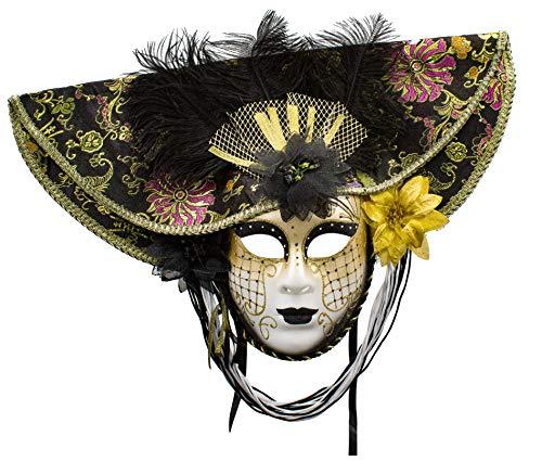 Mscara Veneciana del Bufn de Modelo Vintage Mujer para Carnaval Halloween Navidad Cosplay Fiesta Bola de Fantasa (Negro)