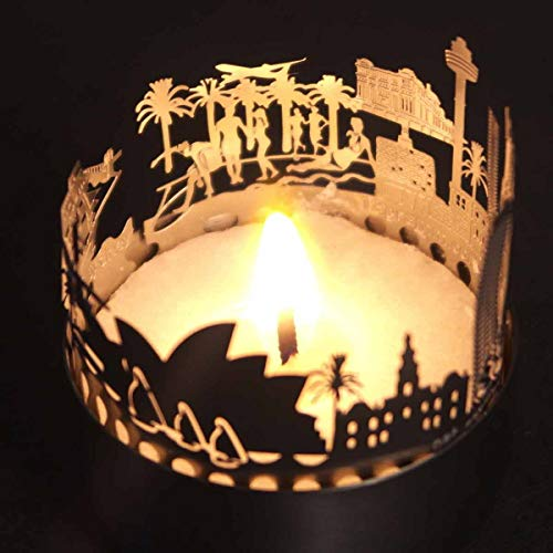 13gramm Sydney skyline candle votive gift souvenir, 3D stainless steel silhouette for a tea light inclusive greeting card