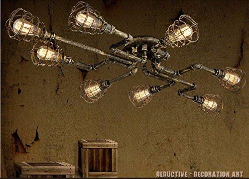 BAYCHEER Lampe de Plafonner Industriel Tuyau Rétro avec 8 Douille Eclairage Decoratif