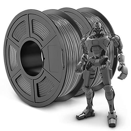 SUNLU PLA Plus 3D Filament 1.75mm for 3D Printer & 3D Pens, 2KG (4.4LBS) PLA+ Filament Tolerance Accuracy +/- 0.02 mm, Grey+Grey