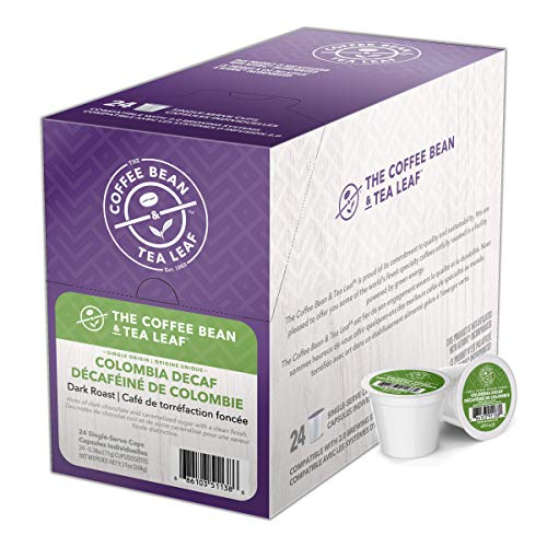 Coffee Bean and Tea Leaf Decaf Coffee Pods, Colombian Coffee, Dark Roast Coffee, Single Serve Coffee for Keurig K Cups Brewers, Hot or Iced Coffee, Decaffeinated Coffee in Recyclable Pods, 24 Count